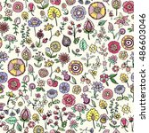 hand drawn floral seamless... | Shutterstock .eps vector #486603046