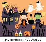 halloween kids in costumes ... | Shutterstock .eps vector #486603682