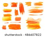 gouache orange yellow textures... | Shutterstock .eps vector #486607822
