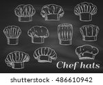 chef toques  hats. chalk sketch ... | Shutterstock .eps vector #486610942