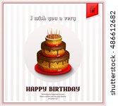 happy birthday greeting card...   Shutterstock .eps vector #486612682