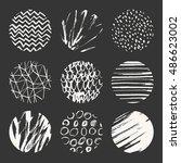set of nine vector hand drawn... | Shutterstock .eps vector #486623002