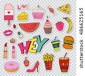 fashion patches elements with...
