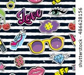 fashion patch badges on... | Shutterstock .eps vector #486628156
