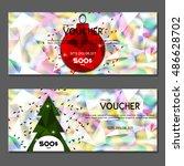 gift voucher. vector ... | Shutterstock .eps vector #486628702