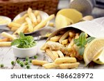 fish   chips served in the... | Shutterstock . vector #486628972