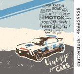 vintage turbo super cars art... | Shutterstock .eps vector #486629938