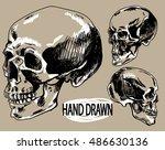 human skull . a set of... | Shutterstock .eps vector #486630136