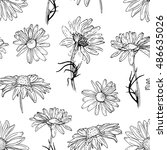 seamless botanical pattern with ... | Shutterstock .eps vector #486635026