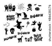happy halloween poster  banner  ... | Shutterstock .eps vector #486638176