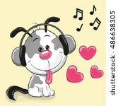 cute cartoon dog with... | Shutterstock . vector #486638305