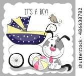 greeting card its a boy with... | Shutterstock . vector #486638782