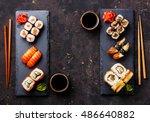 sushi rolls  maki  nigiri set... | Shutterstock . vector #486640882