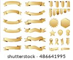 ribbon gold vector icon on... | Shutterstock .eps vector #486641995