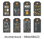hand drawn christmas holiday... | Shutterstock .eps vector #486648622