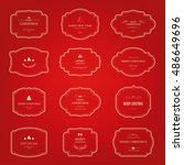 christmas label and elements... | Shutterstock .eps vector #486649696