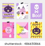 halloween cards set with... | Shutterstock .eps vector #486650866