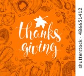 thanksgiving day vector card.... | Shutterstock .eps vector #486651412