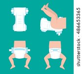 how to wear a diaper steps.... | Shutterstock .eps vector #486653365