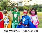superheroes cheerful kids... | Shutterstock . vector #486660388