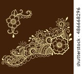 henna tattoo flower template.... | Shutterstock .eps vector #486668296