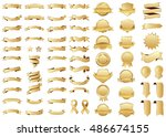 ribbon gold vector icon on... | Shutterstock .eps vector #486674155