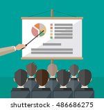 hand of teacher with pointer in ... | Shutterstock .eps vector #486686275