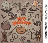 vector set of sketch halloween... | Shutterstock .eps vector #486691642