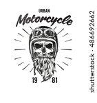 racing motorcycle skull... | Shutterstock .eps vector #486692662