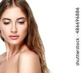 beautiful woman face close up... | Shutterstock . vector #486696886