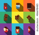 chocolate vector flat icons.... | Shutterstock .eps vector #486698485