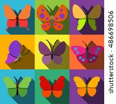 butterfly vector flat icons....   Shutterstock .eps vector #486698506