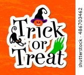 typography inscription trick or ... | Shutterstock .eps vector #486703462