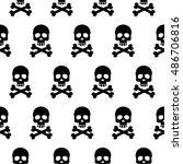 seamless pattern black skulls...   Shutterstock .eps vector #486706816