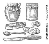Jar  Spoon  Knife And Slice Of...
