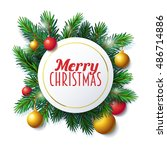 merry christmas label  vector... | Shutterstock .eps vector #486714886