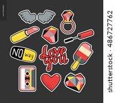 set of contemporary girlish... | Shutterstock .eps vector #486727762