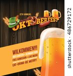 oktoberfest poster with sausage ... | Shutterstock .eps vector #486729172