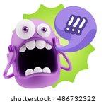 3d rendering surprise character ...   Shutterstock . vector #486732322