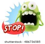3d rendering surprise character ... | Shutterstock . vector #486736585