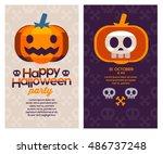 vector illustration poster or... | Shutterstock .eps vector #486737248