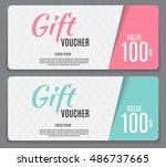 gift voucher template vector... | Shutterstock .eps vector #486737665