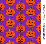 hand drawn halloween party... | Shutterstock .eps vector #486748966