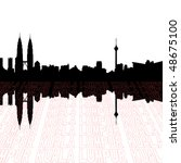 Kuala Lumpur skyline with perspective text outline foreground