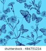 herb meadow  seamless pattern ... | Shutterstock .eps vector #486751216