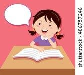 little girl reading book | Shutterstock .eps vector #486757246