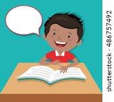 little boy reading book | Shutterstock .eps vector #486757492