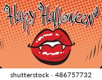 happy halloween mouth female... | Shutterstock .eps vector #486757732