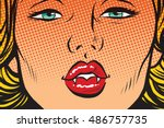 vampire girl lip kiss  pop art... | Shutterstock .eps vector #486757735