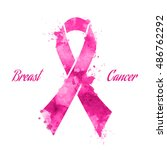 pink ribbon  breast cancer | Shutterstock . vector #486762292